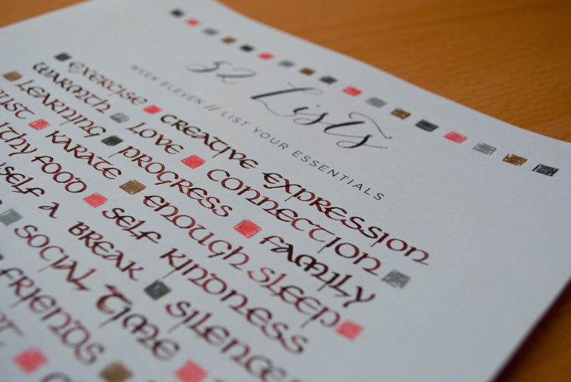 52 Lists - Calligraphy - Closeup