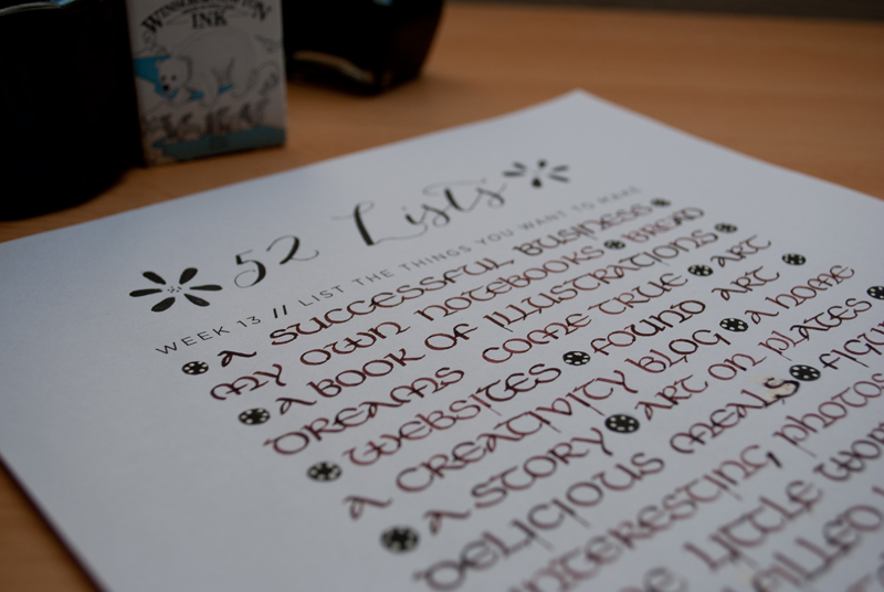 52 Lists // Week 13 // Calligraphy