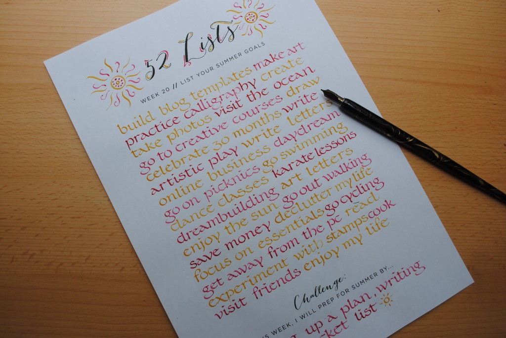 52 Lists // Week 20 // Calligraphy